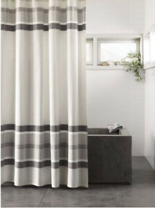 Project 62 Engineered Plaid Shower Curtain Cotton Farmhouse Gray Nwop