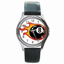 8 Ball on Fire Billiards Eight Ball Player Leather Watch New!