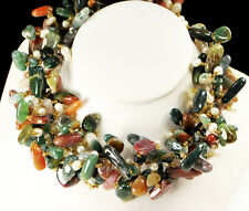 """A1 NY6DESIGN Natural Fancy Agate & White Pearl Antique Silver Clasp Necklace 18"""""""