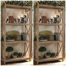 Two Reclaimed Fir Wood Gray Glaze Finish Bookshelf Bookcase 4 Shelf