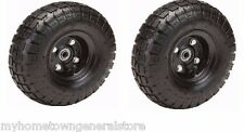 "Two (2) 10"" 10 in. Haul-Master Pneumatic Tires on Black Wheels - 4.10/3.50-4"