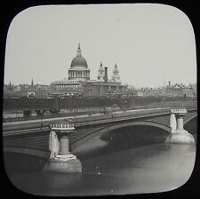 Glass Magic Lantern Slide BLACKFRIARS BRIDGE C1890 OLD VICTORIAN PHOTO .. LONDON