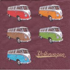 2 Serviettes en papier Bus Volkswagen Decoupage Paper Napkins Colored Samba VW