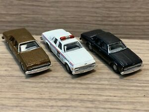 N Scale Mini Metals Vintage Style Police Car Cruiser & 2 1980's Chevy