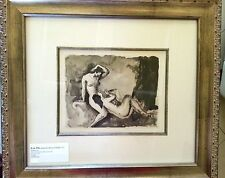 Original Picart Le Doux Le Femmes Nu watercolor framed Helio engraving 1931 WOW
