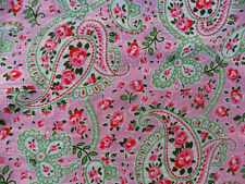 Cath Kidston / Ikea Rosali Paisley Collection FABRIC, Green on Pink Cotton Piece