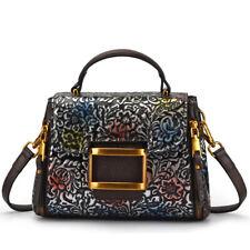 Women's Bag Cow Genuine Leather Cowhide Vintage Handbags Shoulder Print Flower