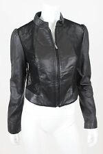 Bebe Faux Leather Jacket Lace Back Crop Size Medium Black Full Zip