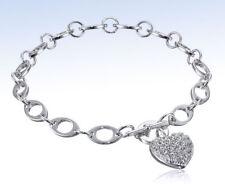 STERLING SILVER Pave-Set CZ Cubic Zirconia Heart TOGGLE Bracelet