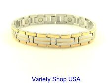 Stainless Steel Magnetic Bracelet 2 Tone Gold & Silver SS999-2T