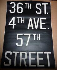 1940's Vintage New York City Subway R1 R9 Front Destination Rollsign 36th ST