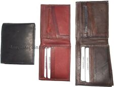 3 New Leather man's bifold wallet 6 credit cards zip change purse coin case BN.