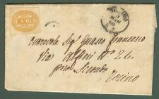 REGNO Lettera del 7.3.1866 interna a Torino. Applicato segnatasse cent.10 giallo