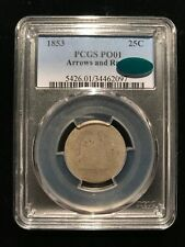 1853 Arrows and Rays Seated Liberty Quarter PCGS PO01 CAC Poor Lowball Type Set