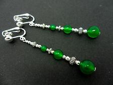 Un Par Plata Tibetana Verde Jade Grano Extra Larga colgantes pendientes de clip. Nueva.