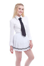 Women JK School Girl Pleated Skirt Tennis Plain Skater Flared Short Mini Skirts