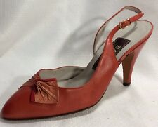 Bally Italy Red Orange Leather Slingback Pump Heels Womens 6 M Pointed Toe Shoes