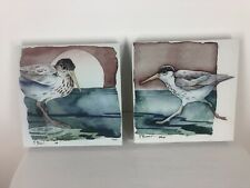 Two  Water Birds Canvas Prints  Signed P. Brent 10 X10 Inch