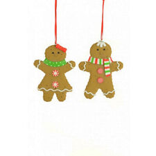 Clay Gingerbread Couple Hanging Christmas Decorations x 2