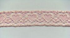 Spitze Wäschespitze elastisch Borte Bordüre rosa mit Herzen 25 mm
