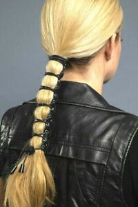 """Hair Glove® Leather Lace Up Pony Tail Holder Hair 8"""""""