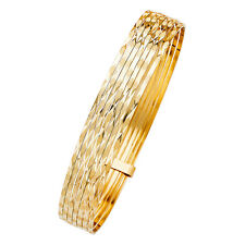14k Solid Yellow Gold Diamond Cut Slip On 7 Bangles 8IN long x 11MM wide 18.3 gr