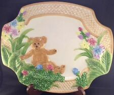 Boyds Bear Ceramic 2004 Platter Plate Flowers Home Collection Spring Basket East