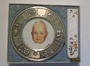 Gullsmed Finn Anderson Pewter Baby Picture Frame Engravable Vintage 4x6