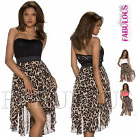 New Sexy High Low Strapless Animal Print Lace Dress Padded Size 6 8 10 XS S M