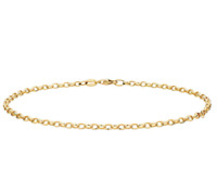 "10K Yellow Gold 2MM Round Rolo Link Chain Bracelet - 7""inches - Made in Italy"