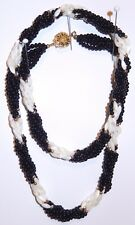 Mother of Pearl Bead Necklace Black Coral Bead Multi Strand Twist Long