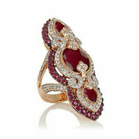 """Oval And Round Shape Ruby """"Art Deco"""" Wedding Ring in 14K Rose Gold Over 925"""