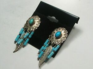 Sterling Silver Turquoise Concho Feather Dangle Earrings Marked.  #5