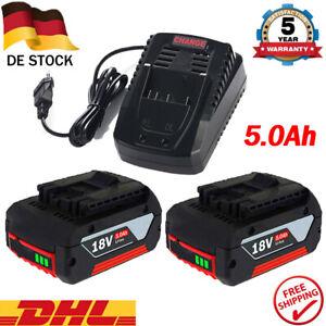 Für Bosch Akku GBA 18V 5,0 Ah GSR GSB 18 Volt BAT618 BAT609 & AL1820CV Ladegerät