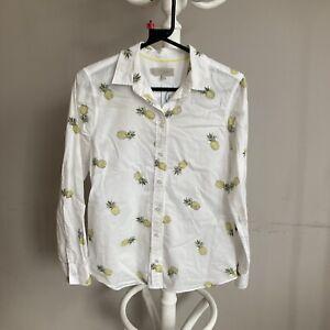 HOBBS DESIGNER PURE Cotton Printed Pineapple BLOUSE UK Size 6 ##Bel