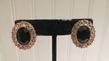 Vintage Goldtone Metal Black Glass Clear Crystal Encrusted Oval Clip-on Earrings