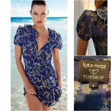 Topshop Kate Moss Blue Chiffon Daisy Print Frill Dress - Size 8