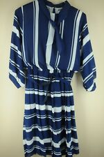 Vintage Women's Navy & White Striped Polyester 80's Dress Size 14