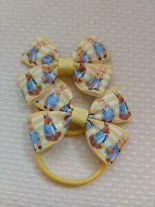 Peter Rabbit Hair Bow Bobbles X2 yellow ribbon easter bunny