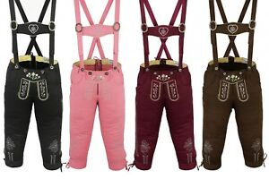 German Wear, Damen Trachten Kniebundhose Jeans Hose kostüme mit Hosenträgern