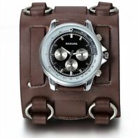 Men's Brown Leather Strap Buckle Sport Analog Quartz Wrist Watch Cuff Bangle