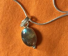 Labradorite Pendant & Sterling silver chain.Grade A Mystic Flashes.UK SELLER