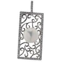 Damen Anhänger echt Silber 925 Sterlingsilber rho Zirkonia und Perle weiß 4,8 cm