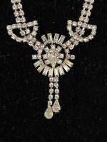 "Vintage Jay Flex Sterling Silver & Rhinestones Drop Chandelier Necklace 16"""
