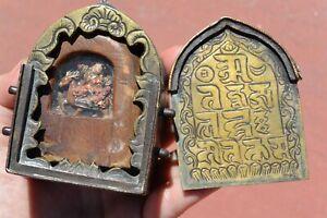 19C Tibetan Brass Fau Ghau Gau Prayer Buddha Shrine Box Painted Clay Tsa Tsa