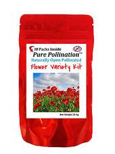 10 Fresh New Flower Variety Seed Pack Kit Heirloom Emergency Survival Garden