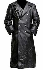 German MIlitary WW2 Vintage Jacket Long Black Genuine Leather Trench Coat Mens