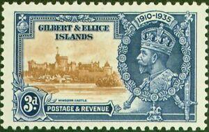Gilbert & Ellice Is 1935 3d Brown & Dp Blue SG38d Flagstaff on R.H Turret Fin...
