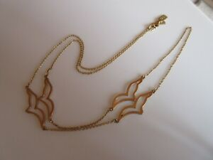 """Kate Spade Signed Vintage Long Gold tone 1970s Style Bird Seagull Necklace 32"""""""