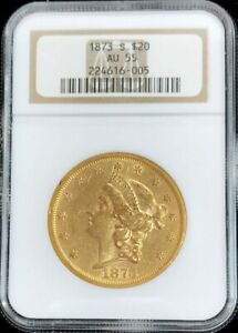 1873 S CLOSED 3 GOLD $20 LIBERTY DOUBLE EAGLE COIN NGC ABOUT UNCIRCULATED 55